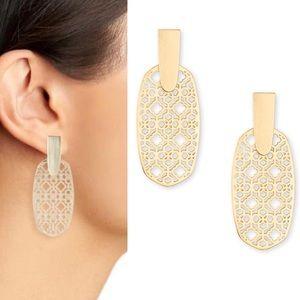 Kendra Scott Aragon Gold Drop Earrings Filigree